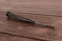 Artigo da ferramenta do trabalho na madeira marrom imagem de stock royalty free