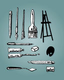 Artigos da arte ilustração stock