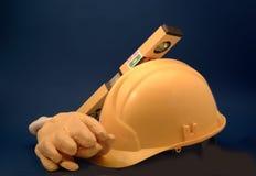 Artigos da construção no amarelo fotos de stock royalty free