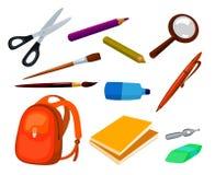 Artigos da educação escolar ajustados Fotos de Stock Royalty Free