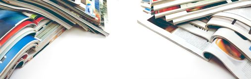 Artigos da forma e projeto do catálogo sobre o fundo branco fotos de stock