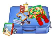 Artigos da mala de viagem e das férias Fotografia de Stock Royalty Free