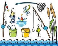 Artigos da pesca ajustados Fotografia de Stock Royalty Free