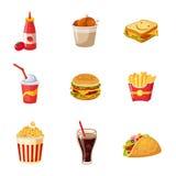 Artigos de comida lixo ajustados ilustração royalty free