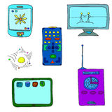 6 artigos de equipamentos eletrônicos ilustração stock