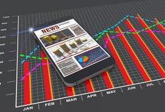 Artigos de notícias do mundo no telefone esperto móvel digital Imagem de Stock Royalty Free