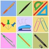 Artigos de papelaria ajustados com fundos coloridos ilustração stock
