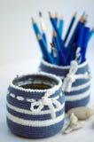 Artigos de papelaria azuis Imagem de Stock Royalty Free