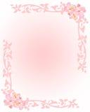 Artigos de papelaria cor-de-rosa com flores Fotografia de Stock Royalty Free