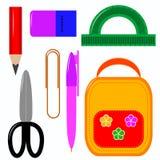 Artigos de papelaria da escola para meninos e meninas ilustração do vetor