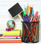 Artigos de papelaria da secretaria da escola Imagens de Stock