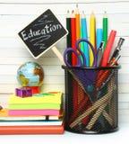 Artigos de papelaria da secretaria da escola Foto de Stock Royalty Free