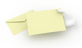 Artigos de papelaria da terra arrendada da mão Fotografia de Stock