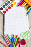 Artigos de papelaria, materiais de escritório Imagens de Stock