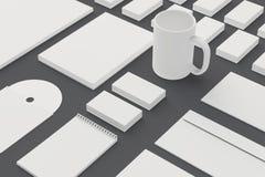 Artigos de papelaria vazios e molde incorporado da identificação isolados no cinza Imagens de Stock Royalty Free