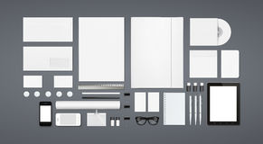 Artigos de papelaria vazios/molde incorporado da identificação Fotos de Stock