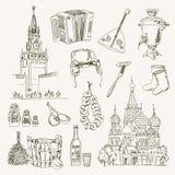 Artigos de Rússia do desenho a mão livre ilustração stock