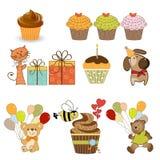 Artigos do aniversário ajustados no formato do vetor Imagens de Stock Royalty Free