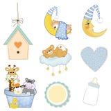 Artigos do bebé ajustados no formato do vetor Foto de Stock Royalty Free