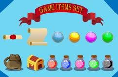 Artigos do jogo ajustados Fotos de Stock Royalty Free