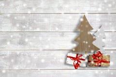 Artigos do Natal no fundo de madeira Imagens de Stock Royalty Free