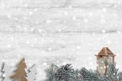 Artigos do Natal no fundo de madeira Imagens de Stock