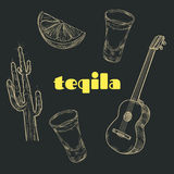 Artigos do partido do Tequila Imagem de Stock Royalty Free
