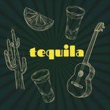 Artigos do partido do Tequila Fotografia de Stock