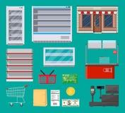 Artigos do supermercado ajustados ilustração royalty free