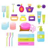 Artigos do vetor da higiene pessoal ilustração royalty free