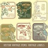 Artigos do vintage do vetor Fotos de Stock Royalty Free