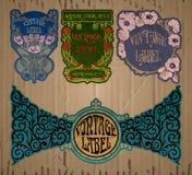 Artigos do vintage: etiqueta Art Nouveau Imagens de Stock Royalty Free