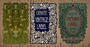 Artigos do vintage: etiqueta Art Nouveau Fotos de Stock Royalty Free