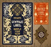 Artigos do vintage: etiqueta Art Nouveau Fotos de Stock