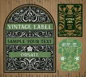 Artigos do vintage: etiqueta Art Nouveau Imagens de Stock
