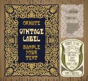 Artigos do vintage: etiqueta Art Nouveau Imagem de Stock Royalty Free
