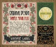 Artigos do vintage: etiqueta Art Nouveau Foto de Stock Royalty Free