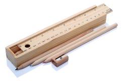 Artigos dos artigos de papelaria de madeira Fotografia de Stock