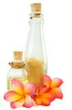 Artigos dos termas e flores tropicais isolados no branco Imagem de Stock