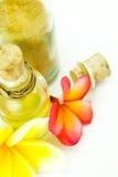 Artigos dos termas e flores tropicais isolados no branco Fotos de Stock Royalty Free