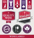 Artigos e etiquetas do vinho do vetor Imagem de Stock Royalty Free