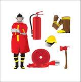 Artigos isolados grupo da emergência do sapador-bombeiro no branco Fotos de Stock