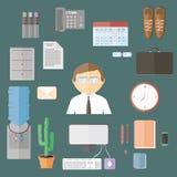 Artigos lisos do escritório dos desenhos animados ajustados Eletrônica Imagens de Stock