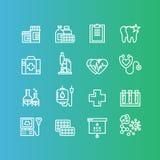 Artigos médica e de cuidados médicos da pesquisa, seguro, MRI, varredura, formulários do controle, testes de sangue ilustração stock
