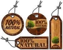 Artigos naturais de 100% - Tag de madeira - 4 ilustração do vetor
