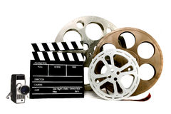 Artigos relacionados da película do estúdio no branco Fotos de Stock