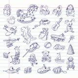 Artigos retros dos brinquedos do desenho a mão livre Imagens de Stock Royalty Free