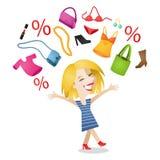 Artigos shopaholic da compra da mulher feliz ilustração royalty free