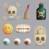 Artigos temáticos do Scull e das partes do corpo assustadores para o projeto de jogo ilustração do vetor