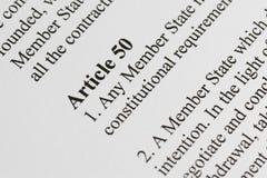 Artikel 50 Lizenzfreie Stockfotos